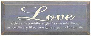 Romantic Love Story Wood Sign