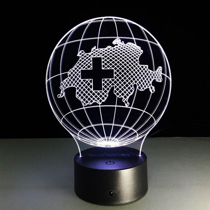 Globe Map of Switzerland 3D LED Illusion Lamp