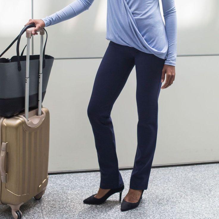 Straight-Leg   Navy Dress Pant Yoga Pants