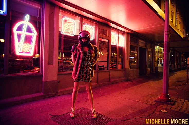 Seattle Fashion Photographer Michelle Moore Editorial in Chinatown at Night