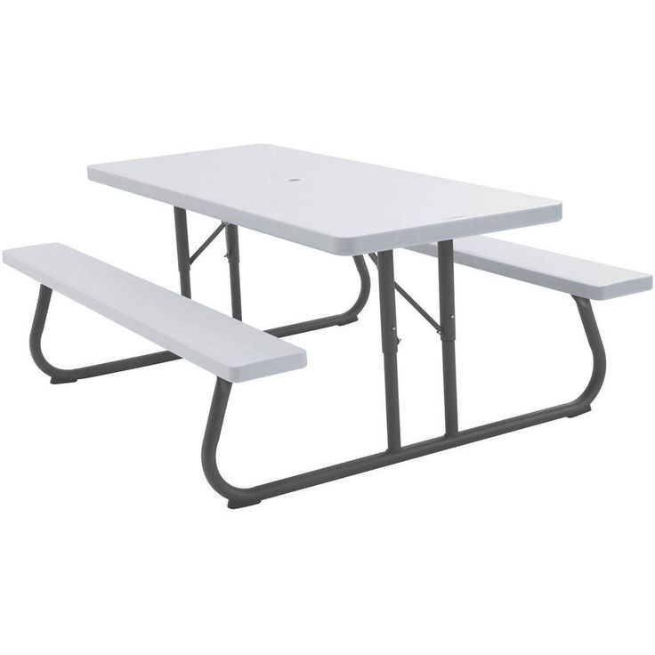 White Granite Picnic Table Bench Folding Portable 8 Seats Strong Durable Density #Lifetime