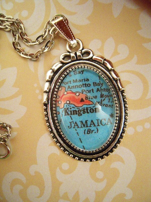 Vintage Kingston Jamaica Island Map Pendant Necklace, Jamaica map jewelry, Jamaican pendant, wedding gift, honeymoon gift, Jamaica key chain by SterlingQuest on Etsy https://www.etsy.com/listing/238465884/vintage-kingston-jamaica-island-map