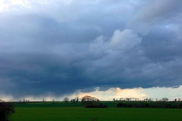 Rain clouds brewing across the field, taken outside my bedroom window.