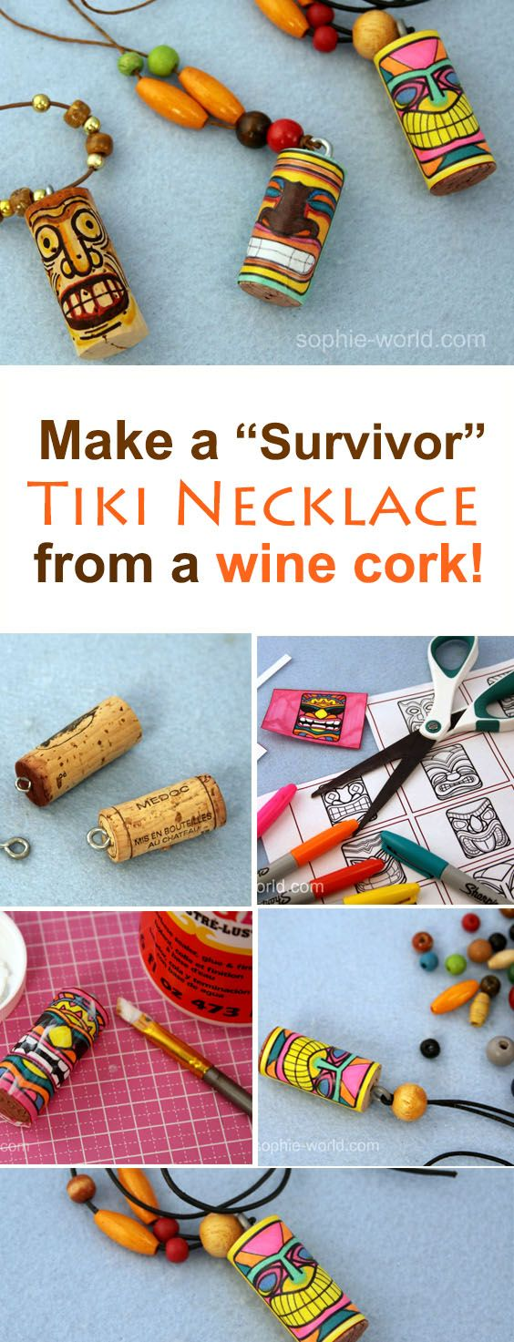Learn how to make an easy diy tiki god necklace from a recycled wine cork with this video craft tutorial. Perfect for a luau, tiki party or Survivor TV show themed party. Learn how on sophie-world.com