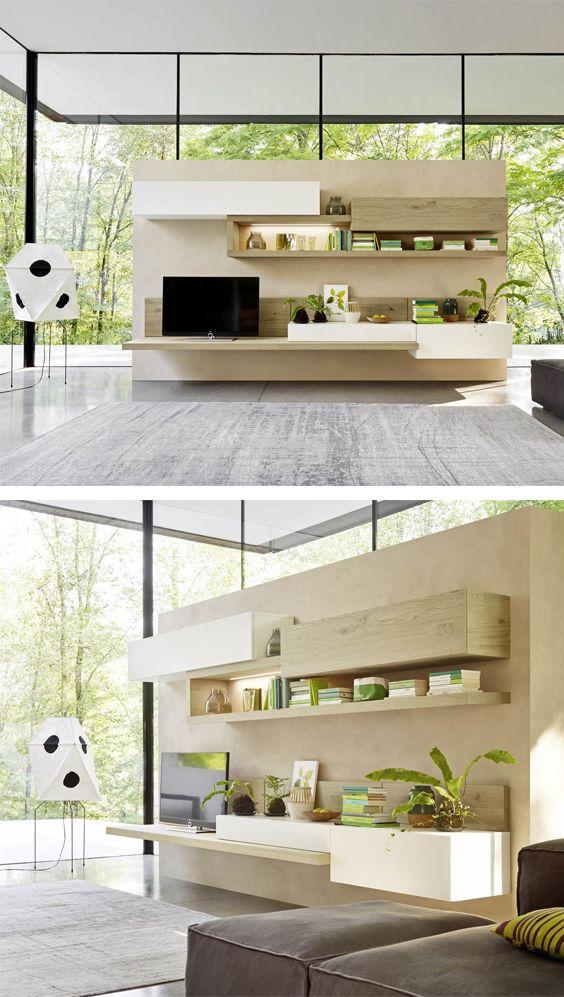 Helle Eiche mit weißer Lackierung kombiniert mit offenen und geschlossenen Elementen sowie indirekter Beleuchtung machen das Wandbord C26 zu einer modern Wohnwand.  #Wohnwand #Wandboard #TV #Regal #wallsystem #wallunit #Wohnbereich #Wohnzimmer #livingroom #home #einrichten #wohnen #Inneneinrichtung #interiordesign #interiordecoration #modern #zeitlos #Wohnbereich #wohntrend #wohntrends #wohnstil #Inspiration #Livarea