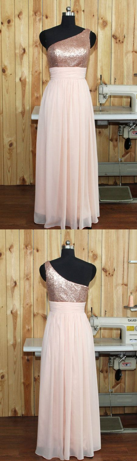 2017 Pearl Pink Bridesmaid Dresses,Chiffon Bridesmaid Dress,One Shoulder Bridesmaid Dresses,Silver Sequin Wedding Party Dress, Long Prom Dress, Long Chiffon Evening Gown Floor Length,Bridesmaid Dress