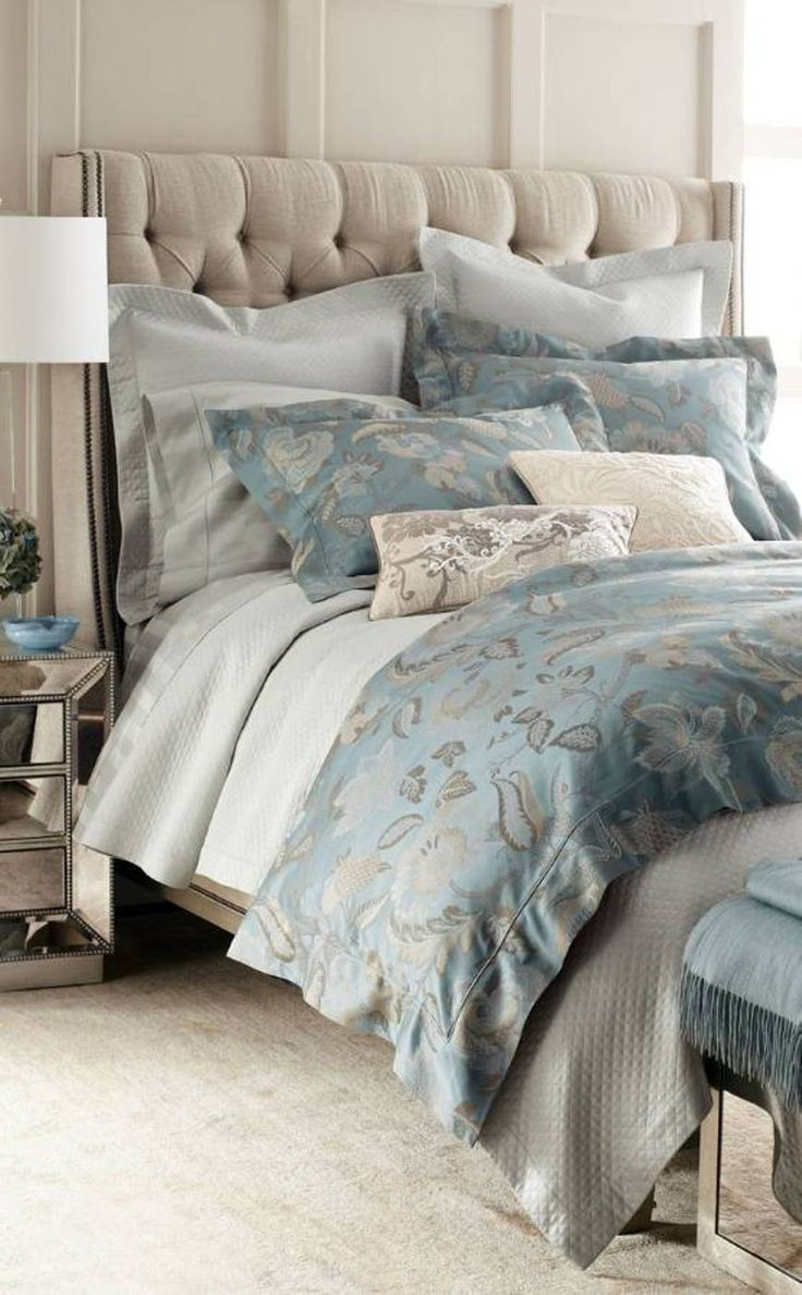 Bedroom , Luxury Bedding For Bedroom : Luxury Bedding Blue Floral And Tufted Headboard