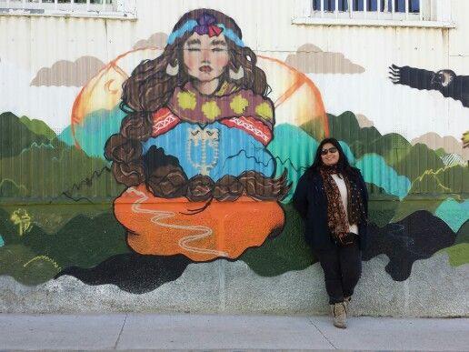 mural de mujer mapuche
