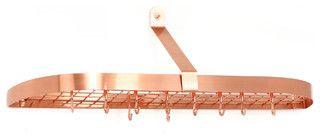 Satin Copper Wall Pot Rack with Grid & 12 Hooks - modern - pot racks - by Old Dutch International