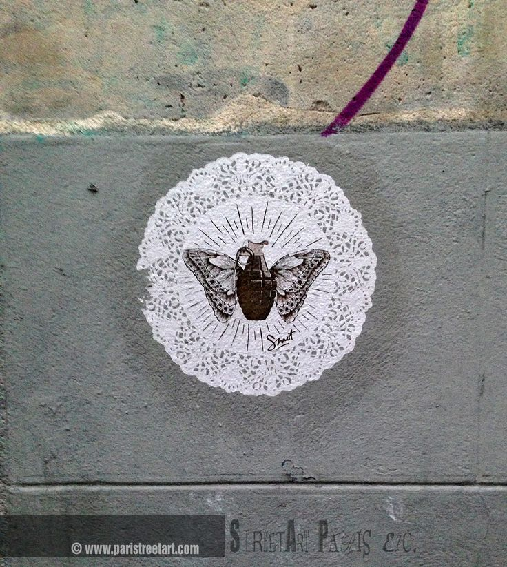 Explosive grenade with the butterfly wings. New supernatural object only or a sarcastic perception of the reality?  http://www.paristreetart.com/2013/11/smot-and-his-lace-world.html  #paris #smot #streetart