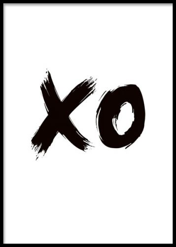 Svartvit illustrerad poster med texten xo. I love you tavla.