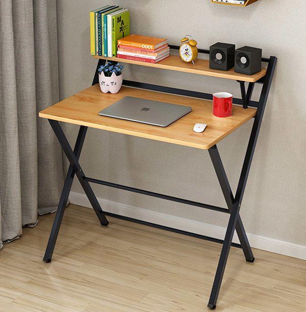 Express Folding Desk With Shelf Folding Desk Desks For Small Spaces Simple Desk