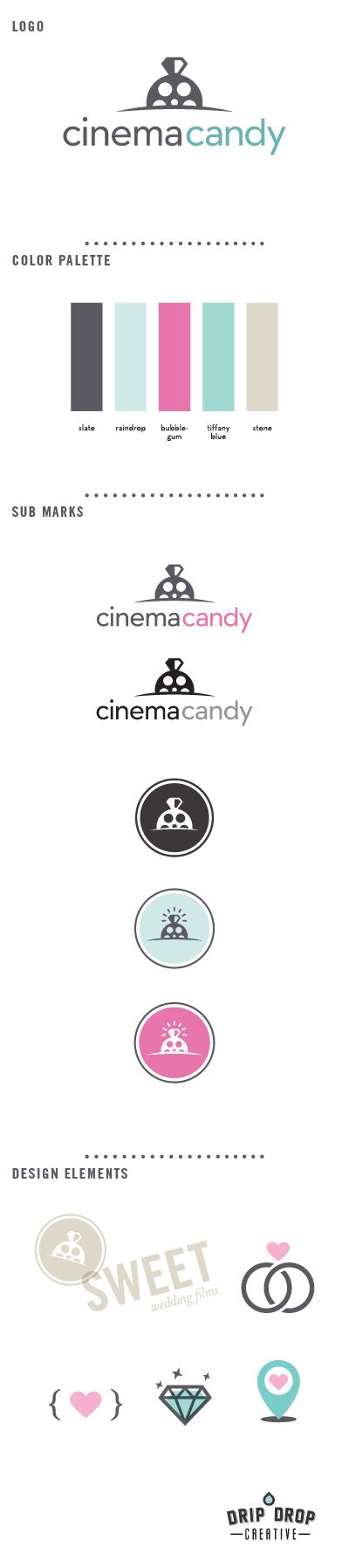 Cinema Candy Brand, logo, color palette, design elements, wedding branding