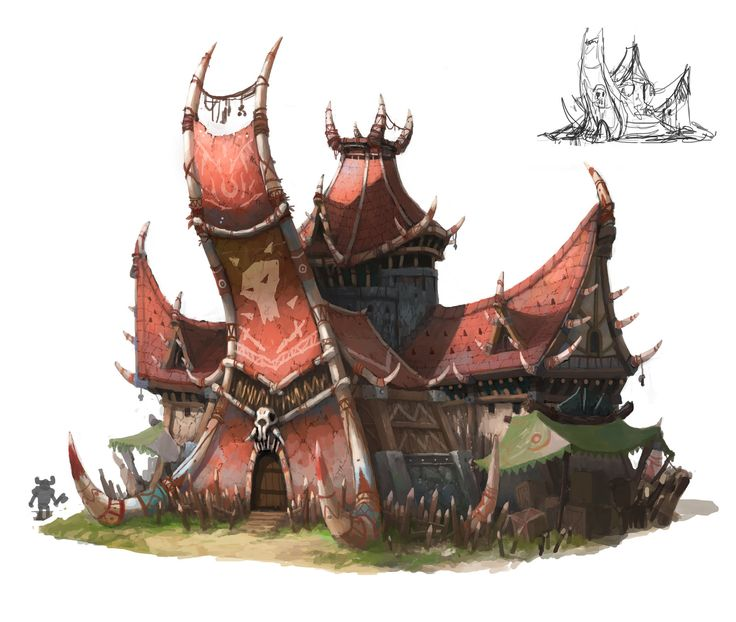 Orc chieftain house, OKU (K.I Kim) on ArtStation at http://www.artstation.com/artwork/orc-chieftain-house