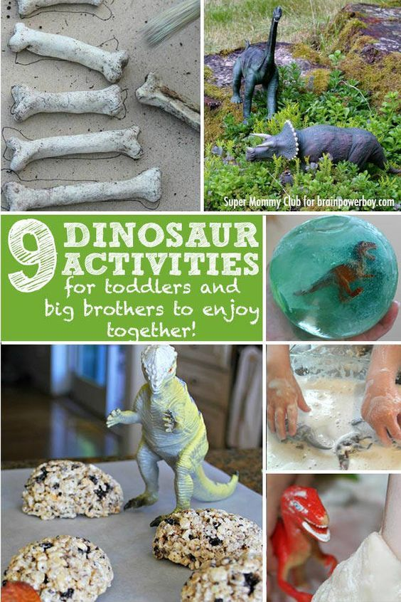 9 Dinosaur Activities for Toddlers and Their Big Brothers. Great way for kids to have fun together.