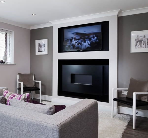 """HOLE IN THE WALL WIDE-SCREEN FIRELINE WITH RECESS AND 50"""" plasma - fireplace with tv above  plasma tv above gas fire"""