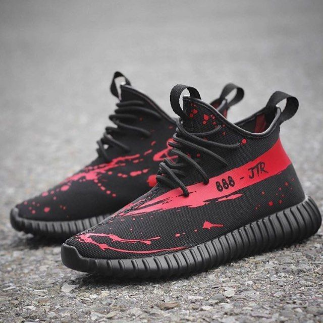 Custom Jack the Ripper Yeezy Boost 650 Blood splatter print all over the shoe  and bloody stripe SPLY.