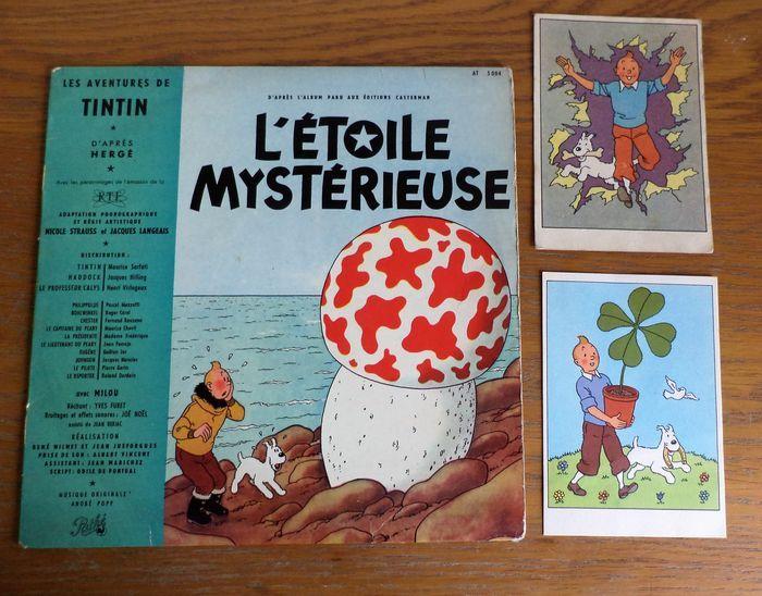 En ce moment aux enchères #Catawiki: Hergé - disque 33 tours L'étoile Mystérieuse + 2 cartes postales : une be...
