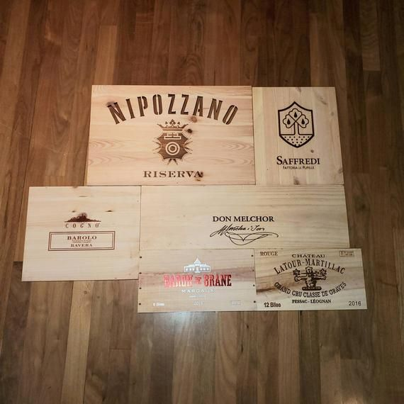 6 Assorted Branded Wine Box Panels Wine Wall Wood Panels Etsy In 2020 Wine Box Wine Brands Wine Crate Paneling