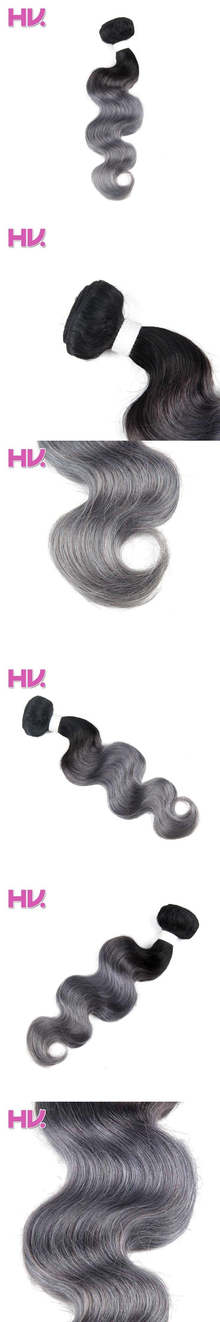 Hair Villa Pre-colored Human Hair Weave Brazilian Body Wave Hair Extensions 1B/gray 10-18 inch Non-Remy Hair Bundles