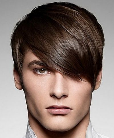 Men s hairstyle hair long and brushed forward on top