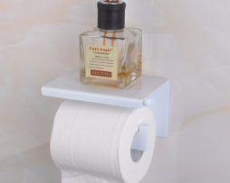 Biely držiak na toaletný papier s poličkou