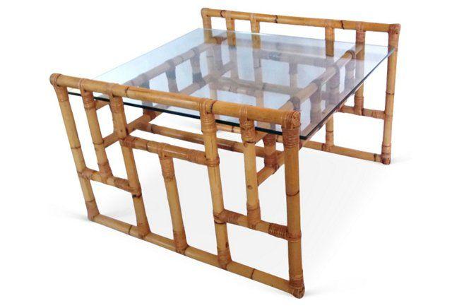 Glass &  Rattan Coffee Table
