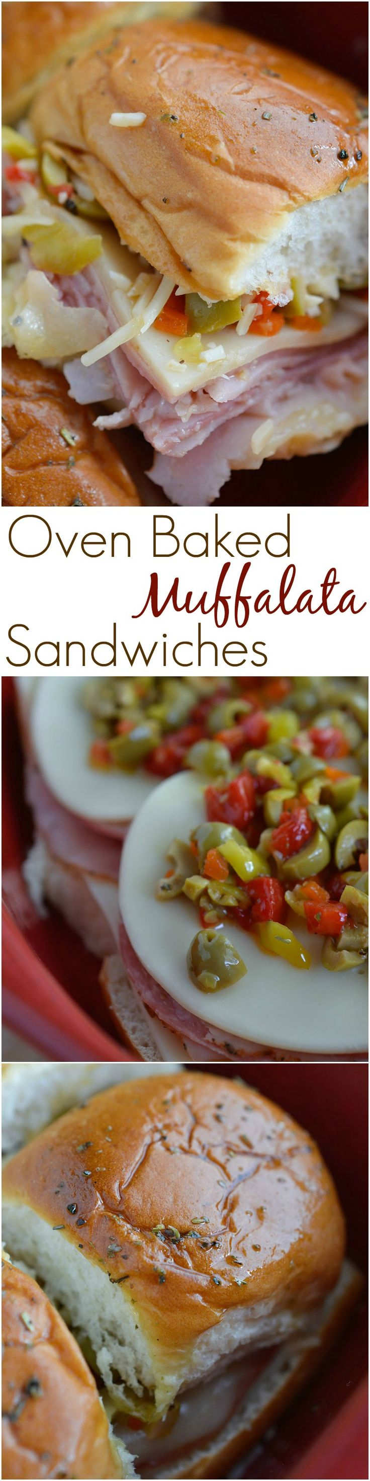 Muffalata Oven Baked Sandwiches - This Italian Sandwich is loaded with meat, cheese and olive salad. A New Orleans favorite, baked in the oven and perfect for feeding a crowd! Dinner Recipe