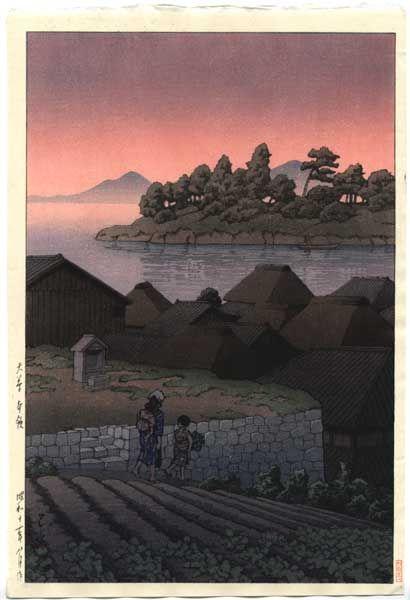 Amakusa Honryo woodblock print by Kawase Hasui, 1937
