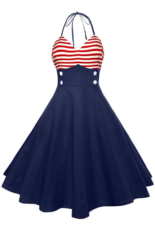 $13.77 American Flag Halter Vintage Dress