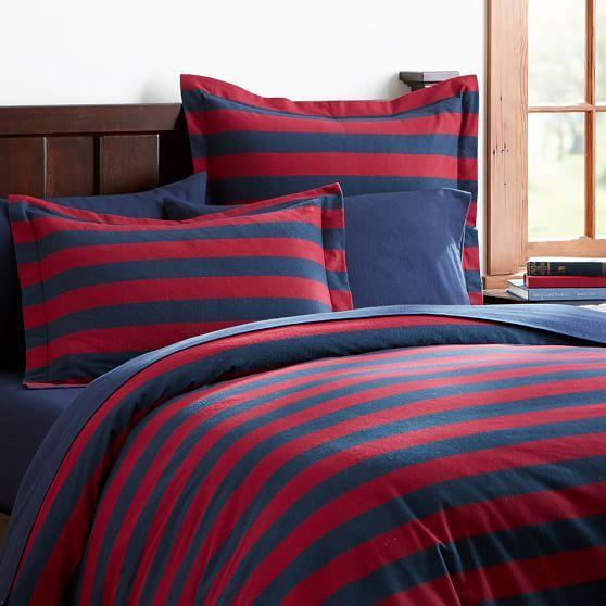 Stowe Stripe Flannel Duvet Cover   Sham #pbteen