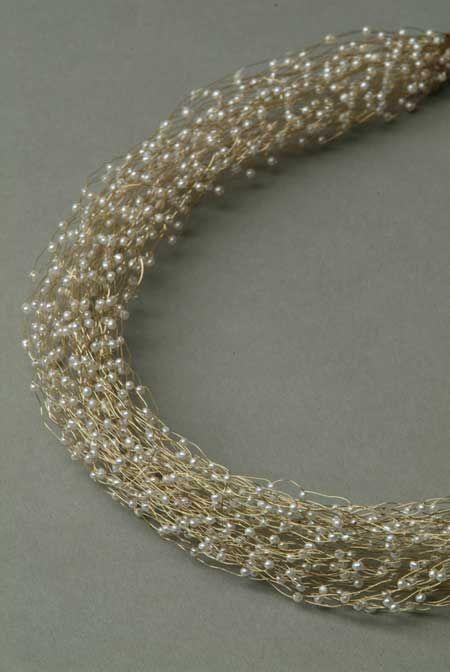 "Kayo Saito: Detail necklace ""Mist"" Gold 18 ct, fresh water pearls"