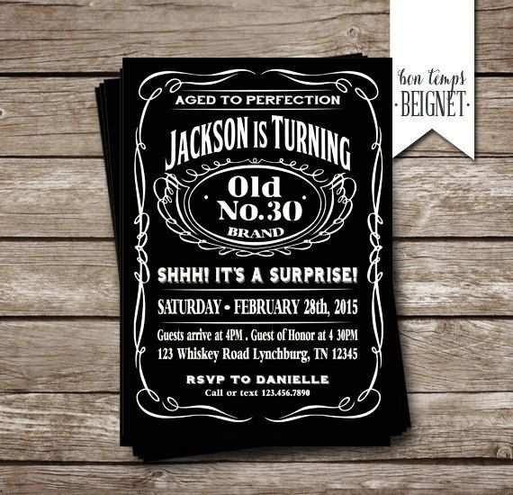 Aged to Perfection - Jack Daniels themed Party Invitation - Printable digital file    Please include info below in the Note to Seller section