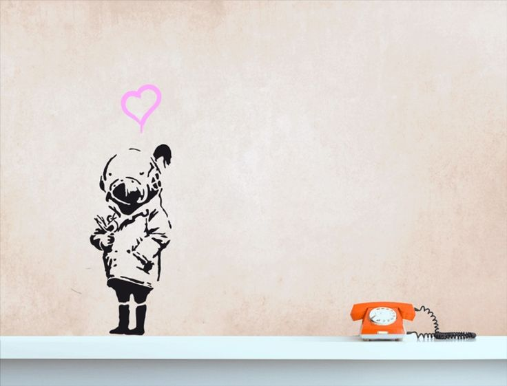 banksy tank girl mit vogel wandtattoo streetart tank girl banksy and bansky. Black Bedroom Furniture Sets. Home Design Ideas