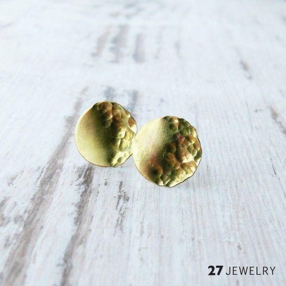 Round half hammered sun 27jewelry handmade brass earrings