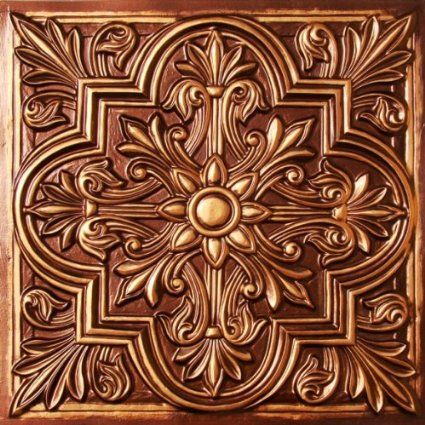 Drop Ceiling Tiles 2x2 #302 Antique Copper Faux Plastic UL Rated,class A, Can Be Glued on Any Flat Surface. Suspended Ceiling! nail On,staple On,tape On,glue On!cheap. Venetian Tile.Decorative.