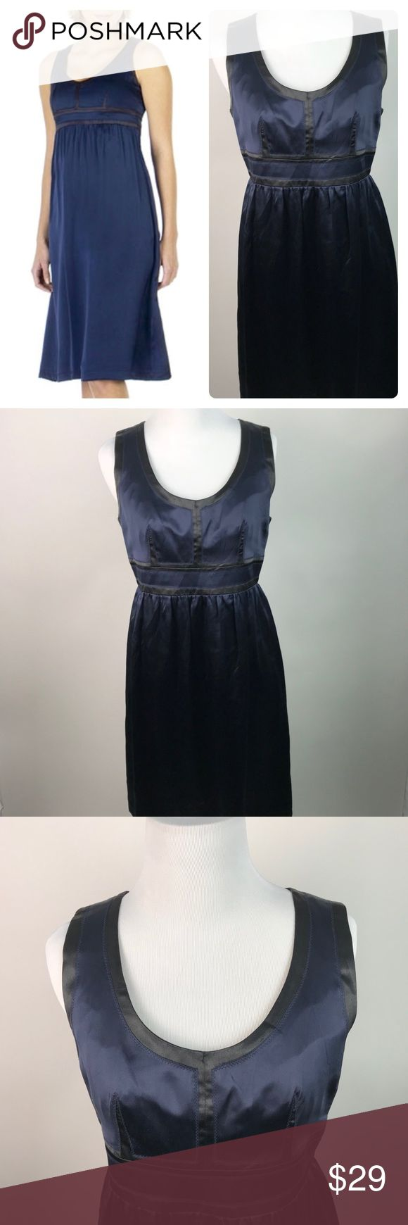 Proenza Schoeler for Target Silk Dress 7 AK27 Proenza Schouler For Target Women's 100% Silk Empire Waist Dress Size 7 AK27 EUC...No stains holes rips or pilling  GORGEOUS! This dress by upscale designer, PROENZA SCHOULER, for Target, features a beautiful 100% silk textile, in an indigo blue hue with black patchwork accents at the bodice. It boasts a scoop neckline, empire waist, full skirt, back zip; fully lined. Perfect for any evening event, party, etc, or pair with black blazer for career…