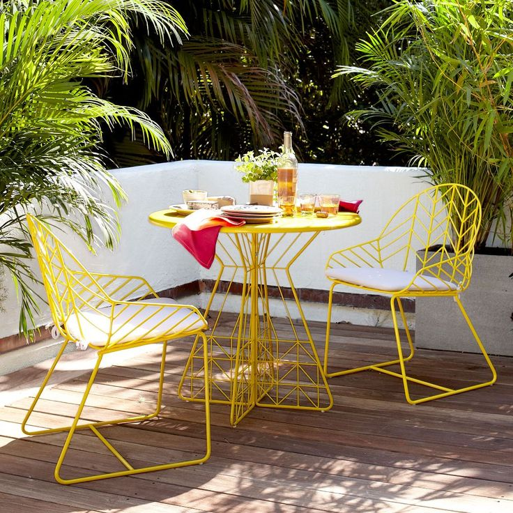 Perfect Size For The Patio   Bend Dining Table + 2 Chairs, Yellow   Modern    Outdoor Tables   West Elm