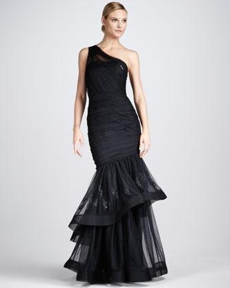Tiered One-Shoulder Gown - Neiman Marcus