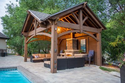 3rd Gable Pavilion w/Privacy Wall & Fireplace
