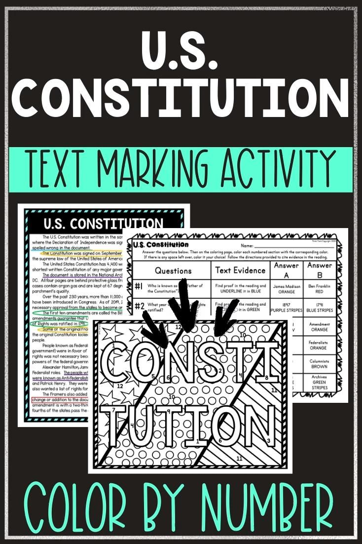 U S Constitution Activity Color By Number Video In 2020 Upper Elementary Resources Reading Comprehension 5th Grade Reading [ 1102 x 734 Pixel ]