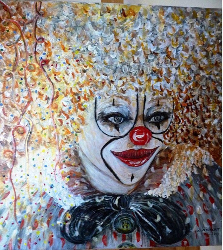 Joyeux clown tout en couleur peinture acrylique sur toile 40 cm sur 40 cm : Peintures par chantart