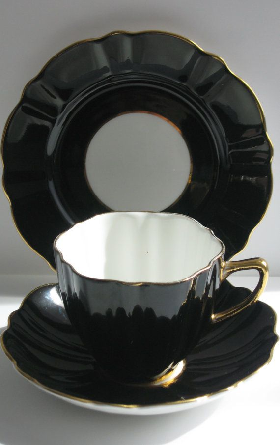 1950s Vintage Rare Black Teacup Saucer Side Plate