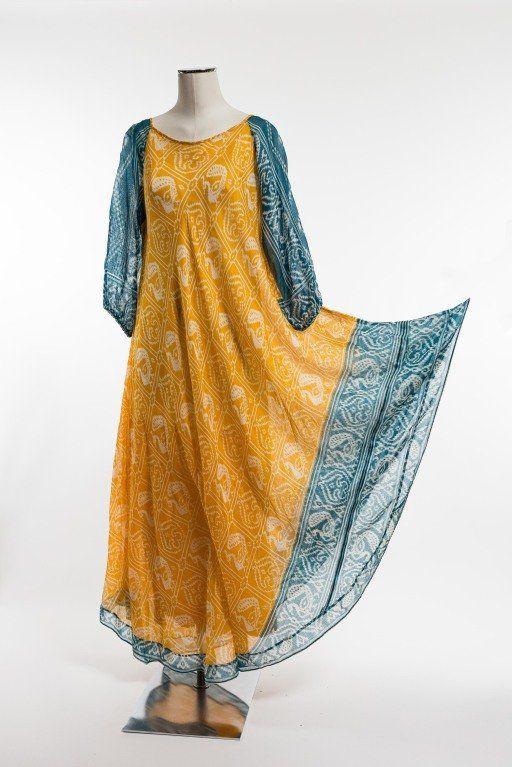 1970's Troubadour London Ethnic Print Dress For Sale at 1stdibs