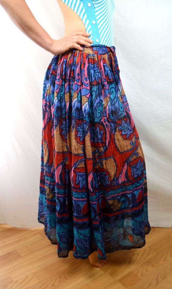 Vintage Floral 80s 90s Hippie Gauzy Cotton Broom Skirt
