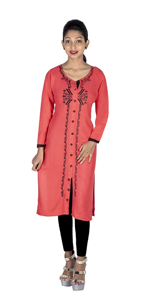 0956605d799f0 Get the best offer from  FGTrendz Womens Rayon Pink with Black Embroidery  Front Button Kurti  GirlsKurti  StylishKurti  KurtiStyle available on  Kraftly.com
