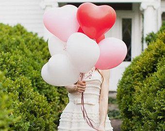 "Sale 8 HEART BALLOONS 11"" Choose Red Pink or White Valentine's Day Valentine Balloon Decor Love Date Dinner Surprise Wedding Photo Prop"