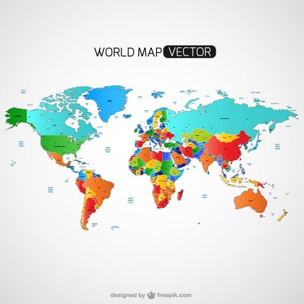 красочные карта мира вектор Бесплатные векторы