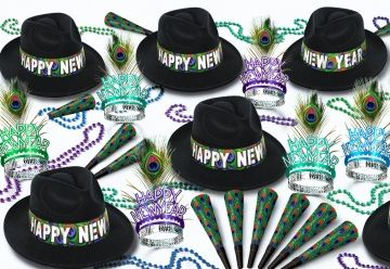 """This assortment for 50 people includes: 25 Velour Fedoras Hats """"Happy New Year"""", 25 Glittered Plumed Tiaras """"Happy New Year"""", 50 Printed Horns 9"""", 25 Party Beads 33"""""""