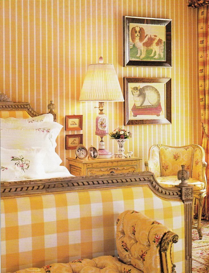 Love the yellow buffalo check - 19th Century Philadelphia Bedroom by Interior Designer Bennett and Judie Weinstock   Photography by Billy Cunningham  AD